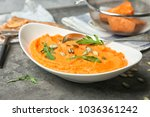 plate with tasty mashed sweet... | Shutterstock . vector #1036361242