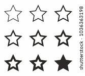 star icon set vector. favorite... | Shutterstock .eps vector #1036363198