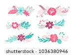 six bouquet flowers and floral... | Shutterstock .eps vector #1036380946