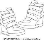 footwear for women  contour set ... | Shutterstock .eps vector #1036382212