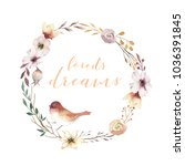 vintage watercolor wreath... | Shutterstock . vector #1036391845