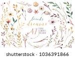 set boho watercolor elements of ... | Shutterstock . vector #1036391866