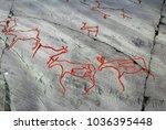 rock art in the alta fjord ... | Shutterstock . vector #1036395448