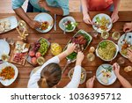 thanksgiving day  eating and... | Shutterstock . vector #1036395712