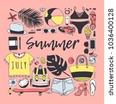hand drawn summer pattern.... | Shutterstock .eps vector #1036400128