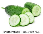 cucumber and slices isolated on ... | Shutterstock . vector #1036405768