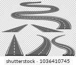 set of roads and road bends.... | Shutterstock .eps vector #1036410745