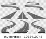 set of roads and road bends.... | Shutterstock .eps vector #1036410748