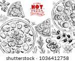 italian pizza and ingredients... | Shutterstock .eps vector #1036412758