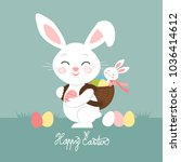 easter bunnies with eggs ... | Shutterstock .eps vector #1036414612