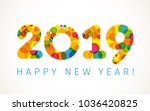 2019 a happy new year xmas... | Shutterstock .eps vector #1036420825