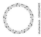 vector hand drawn floral wreath ... | Shutterstock .eps vector #1036423405