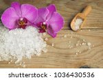 orchid flowers on a wooden... | Shutterstock . vector #1036430536