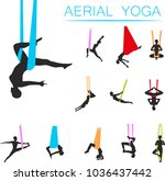 aerial yoga set with young... | Shutterstock .eps vector #1036437442
