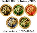 set of physical golden coin...   Shutterstock .eps vector #1036440766