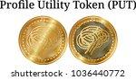 set of physical golden coin...   Shutterstock .eps vector #1036440772