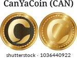 set of physical golden coin... | Shutterstock .eps vector #1036440922