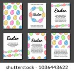 set of six postcards  easter ... | Shutterstock .eps vector #1036443622