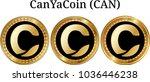 set of physical golden coin... | Shutterstock .eps vector #1036446238