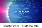 data flow tunnel. geometric... | Shutterstock .eps vector #1036452406