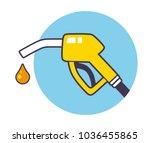 gas fuel pump nozzle and drop.... | Shutterstock .eps vector #1036455865