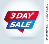 3 day sale arrow tag sign. | Shutterstock .eps vector #1036463212