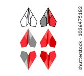 flat paper plane. red color set. | Shutterstock .eps vector #1036475182