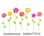 colorful spring flowers. vector ... | Shutterstock .eps vector #1036477372