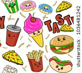 cute kids food pattern for... | Shutterstock .eps vector #1036481242
