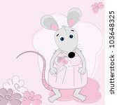 cute mouse girl with flowers | Shutterstock .eps vector #103648325