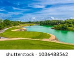 beautiful golf course. | Shutterstock . vector #1036488562