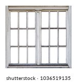 Old Wooden Window On White...