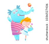 little girl and pet elephant... | Shutterstock . vector #1036527436