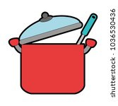 kitchen pot with ladle | Shutterstock .eps vector #1036530436