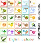 english alphabet with pictures...   Shutterstock .eps vector #1036534882
