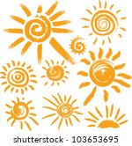 set of handwritten sun symbols | Shutterstock .eps vector #103653695