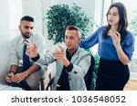 team leader gesturing while... | Shutterstock . vector #1036548052