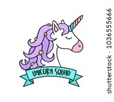 magical colorful unicorn head... | Shutterstock .eps vector #1036555666