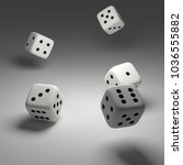 cubes dice two white dices 3d... | Shutterstock . vector #1036555882
