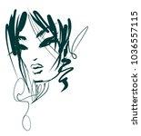 vector  stylish  original hand... | Shutterstock .eps vector #1036557115