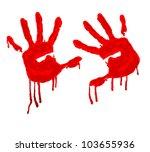 vector red hand print on white... | Shutterstock .eps vector #103655936