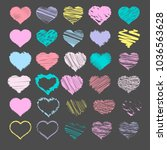 set of sketch heart icons ... | Shutterstock .eps vector #1036563628