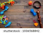 Stock photo pet accessories toys near collar on dark wooden background top view copy space 1036568842