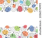 easter frame with easter eggs... | Shutterstock .eps vector #1036574995