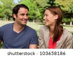 man is grinning while he... | Shutterstock . vector #103658186