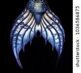 blue mermaid tail fluke  design ... | Shutterstock . vector #1036586875