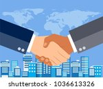 shaking hands flat design... | Shutterstock .eps vector #1036613326