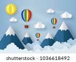 origami made hot air balloon... | Shutterstock .eps vector #1036618492