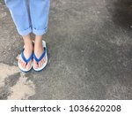 Blue Flip Flop Isolated On...