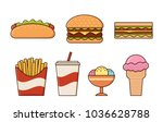 fast food icons isolated in... | Shutterstock .eps vector #1036628788